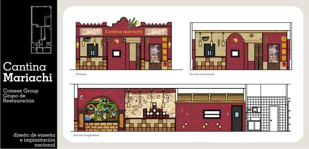 Diseño e Interiorismo de Franquicia de Restauración Mexicana Cantina Mariachi