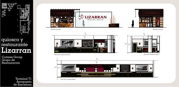 Diseño e Interiorismo de Quiosco y Restaurante Lizarran en Terminal 1 Aeropuerto Barcelona