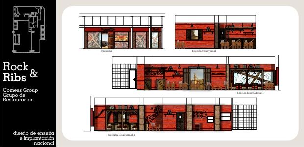 Diseño e Interiorismo de Franquicia de Restauración Tex Mex Rock&Ribs