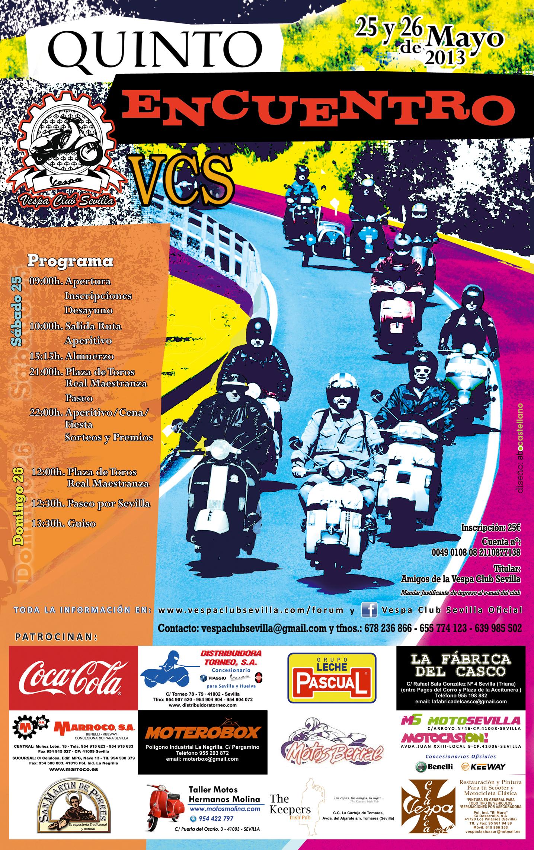 Cartel anunciador V Encuentro Vespa Club Sevilla 2013